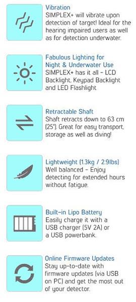 Features of  Nokta Makro Simplex