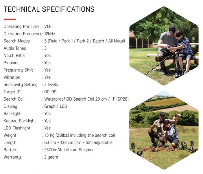 Nokta Makro Simplex Specifications