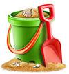 Cartoon bucket Metalldetektor under vattnet