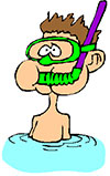 Cartoon diver Metalldetektor under vattnet
