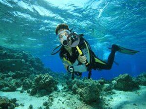 dykare med vattentät pinpointer