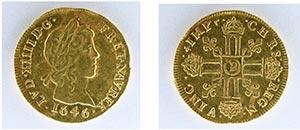 Fram och baksida på ett Guld ynt ur Hittade Guldmynt under renoveringen